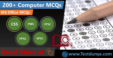 MS Office MCQs PDF and Word, Excel, Power Point MCQs. Computer MCQs for PPSC, FPSC, NTS, NTS, PTS, NAT, GAT, ECAT, UPSC, Railway, Intelligence Questions with Answers for exam preparation.