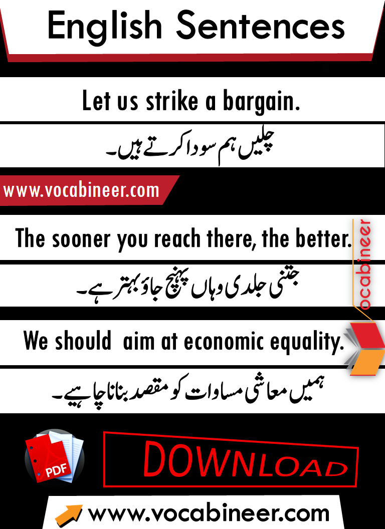 Spoken English Sentences with Urdu translation PDF, Spoken English Sentences for daily use PDF, Online English course, kids English, English to Urdu translation, Download English sentences in Urdu PDF