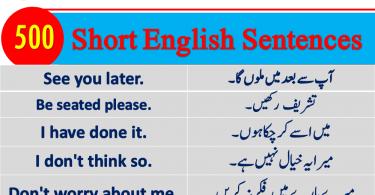 Short English to Urdu Sentences for spoken English
