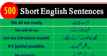English Sentences, Short English to Urdu sentences