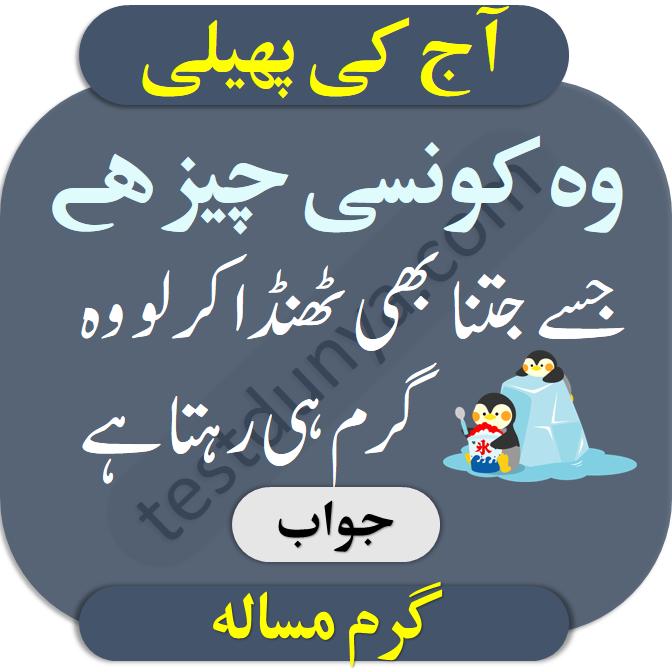 Riddles in urdu for kids answer 8 Wo konsi cheez hai jisy jitna bhi thanda karlo wo gram hee rehta hai