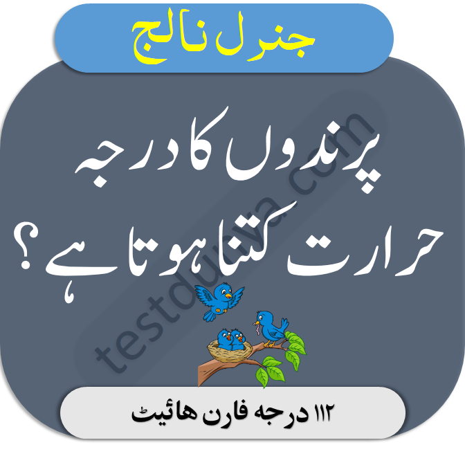 general knowledge quiz about Pakistan with answers in Urdu parindon ka darja haraarat kitna hota hai